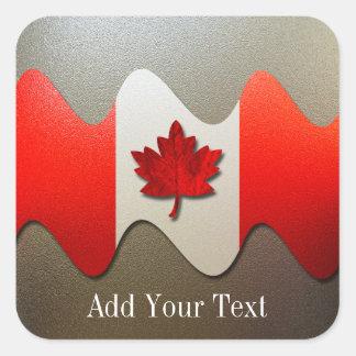 Sticker Carré Drapeau-Chrome du Canada par Shirley Taylor