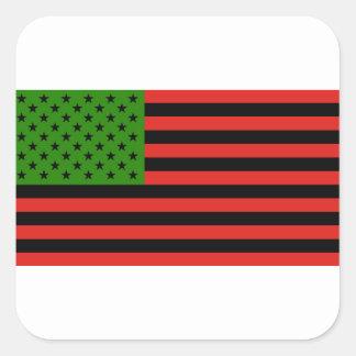 Sticker Carré Drapeau d'Afro-américain - noir et vert rouges