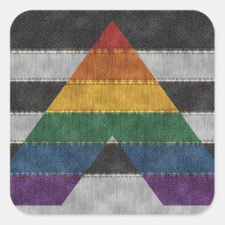 Sticker Carré Drapeau de denim d'allié de LGBT