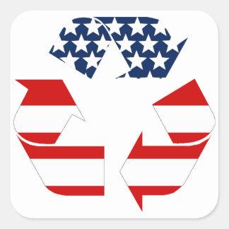 Sticker Carré Drapeau des Etats-Unis - blancs rouges et le bleu