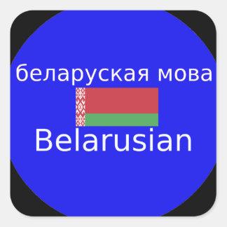 Sticker Carré Drapeau du Belarus et conception de langue