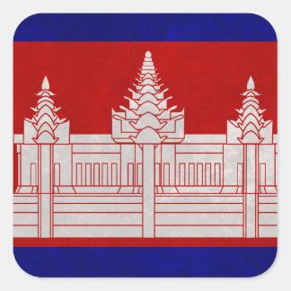 Sticker Carré Drapeau du Cambodge