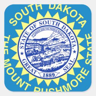 Sticker Carré Drapeau du Dakota du Sud