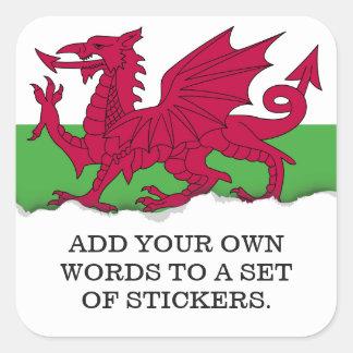 Sticker Carré Drapeau du Pays de Galles
