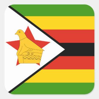 Sticker Carré Drapeau du Zimbabwe