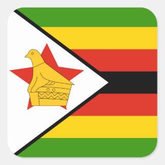 Sticker Carré Drapeau du Zimbabwe Afrique