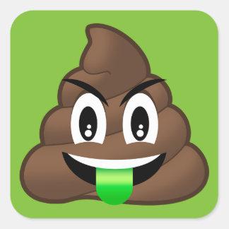 Sticker Carré Dunette folle Emoji de langue verte