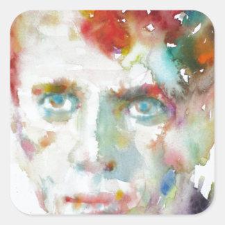 Sticker Carré Dylan Thomas - aquarelle portrait.1