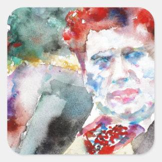 Sticker Carré Dylan Thomas - aquarelle portrait.2