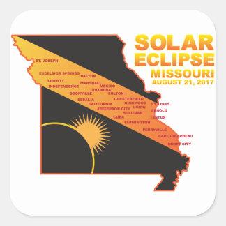 Sticker Carré Éclipse 2017 solaire à travers la carte de villes