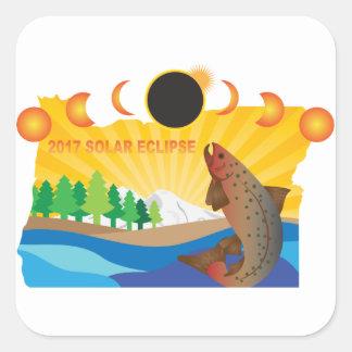 Sticker Carré Éclipse 2017 solaire à travers l'illustration de