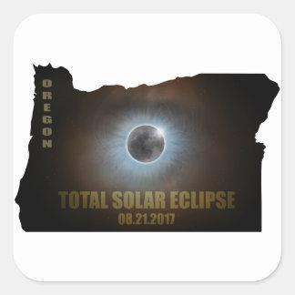 Sticker Carré Éclipse solaire totale dans le contour de carte de