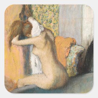 Sticker Carré Edgar Degas | après Bath, cou de séchage de femme