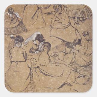 Sticker Carré Edgar Degas | douze études des femmes dans le