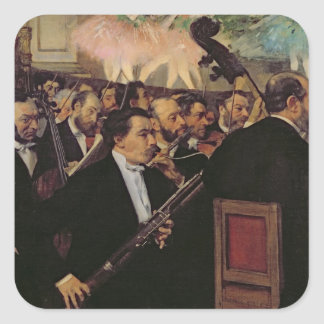 Sticker Carré Edgar Degas | l'orchestre d'opéra, c.1870