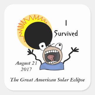 Sticker Carré Édition de survie de l'éclipse 2017 solaire