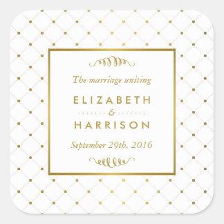 Sticker Carré Effet moderne de blanc et de feuille d'or épousant