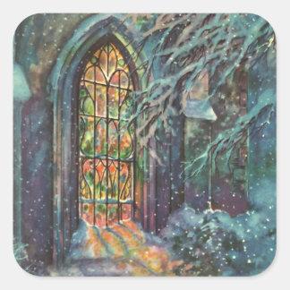 Sticker Carré Église vintage de Noël avec la fenêtre en verre