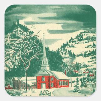 Sticker Carré Église vintage de Noël, Snowscape en hiver