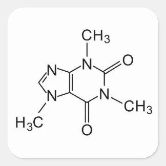 Sticker Carré élément de chimie de café de formule chimique de