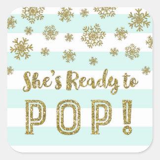 Sticker Carré Elle est prête à sauter la neige d'or de rayures
