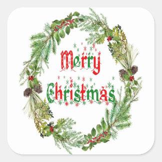 Sticker Carré Emballage cadeau de Joyeux Noël