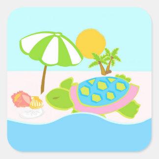 Sticker Carré Emballage cadeau de tortue de mer