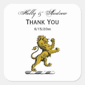 Sticker Carré Emblème debout C de crête de lion héraldique