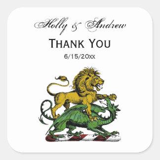 Sticker Carré Emblème héraldique de crête de lion et de dragon
