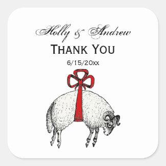 Sticker Carré Emblème réuni héraldique de crête de moutons de