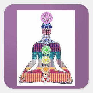 Sticker Carré Énergie curative d'étincelle de Chakra de