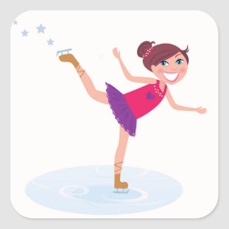 Sticker Carré Enfant de patinage de glace sur le blanc