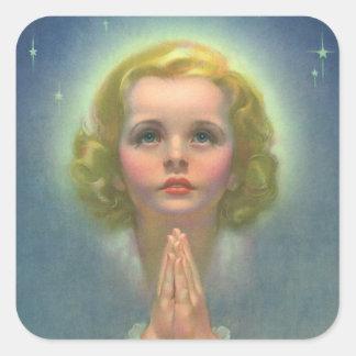 Sticker Carré Enfants religieux vintages, fille avec la prière