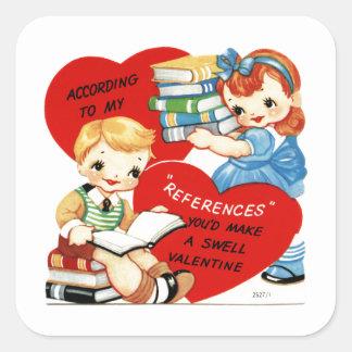 Sticker Carré Enfants vintages avec des livres Valentine