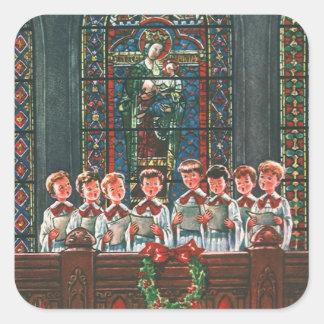 Sticker Carré Enfants vintages de Noël chantant le choeur dans