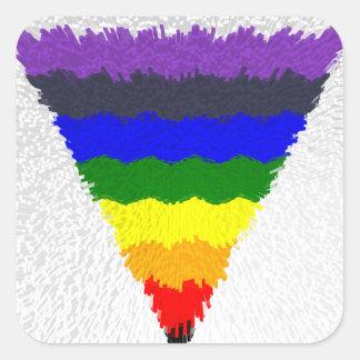 Sticker Carré Entonnoir onduleux de triangle d'arc-en-ciel de