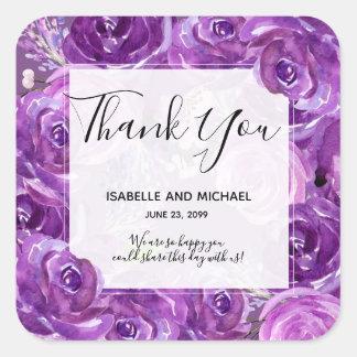 Sticker Carré Épouser floral de Merci de rose audacieux de