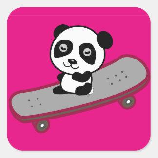 Sticker Carré Équitation de panda sur la planche à roulettes