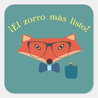"""Sticker Carré Espagnol """"le Fox le plus intelligent !"""""""