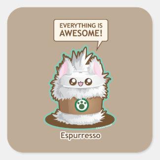Sticker Carré Espurresso : Café mignon Kitty de café express