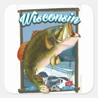 Sticker Carré État du Wisconsin pêchant l'affiche