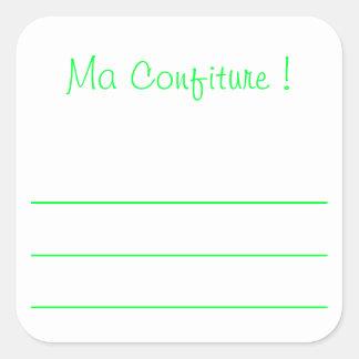 """Sticker Carré Etiquette confiture vert """"ma confiture"""""""