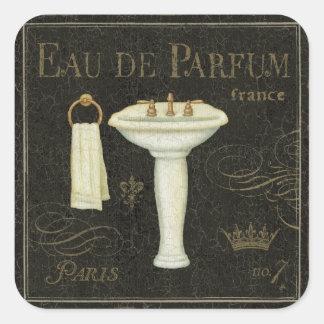 Sticker Carré Évier vintage et serviette