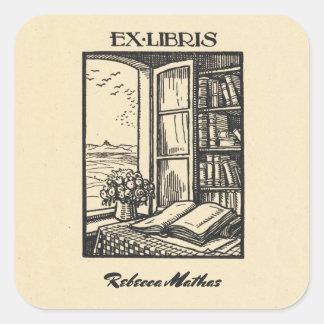 Sticker Carré Ex-libris antique gravant à l'eau-forte Henri