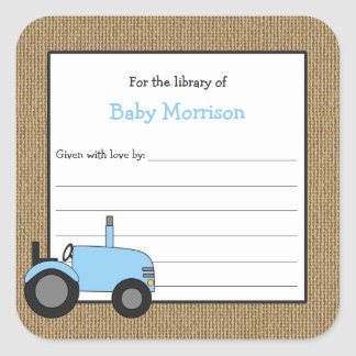 Sticker Carré Ex-libris bleu rustique de baby shower de tracteur