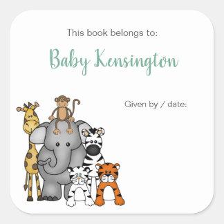 Sticker Carré Ex-libris d'animaux de jungle/baby shower de livre