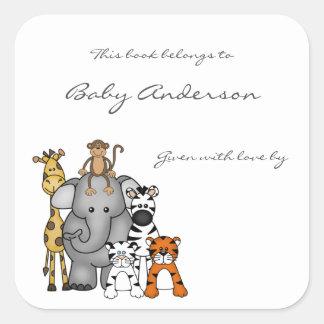 Sticker Carré Ex-libris de baby shower/animaux de jungle