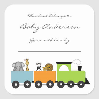 Sticker Carré Ex-libris de baby shower/train animal de safari
