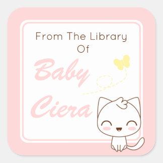 Sticker Carré Ex-libris Girly de chat de Kawaii
