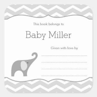 Sticker Carré Ex-libris gris de baby shower d'éléphant, neutre